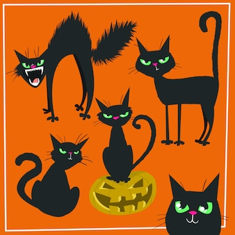 手描きハロウィーン黒猫