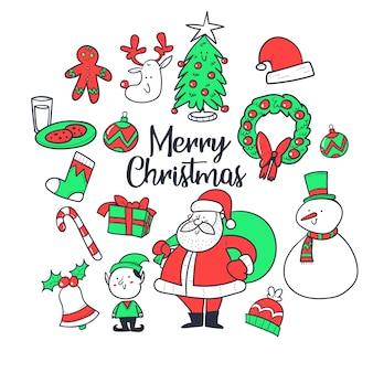 クリスマスセット、手描きスタイル。落書きコレクション