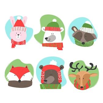 Смешно одетые животные в рождественский сезон