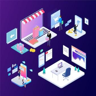ビジネスオフィスシーン現代の将来の技術の等尺性ベクトルイラスト。