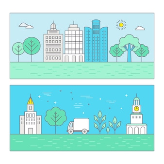 トレンディな平らな直線的なスタイルのベクトル図都市景観