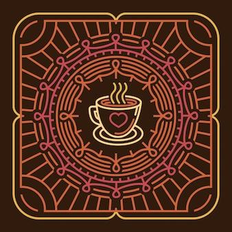ラウンドエンブレムのベクトルコーヒーマグ