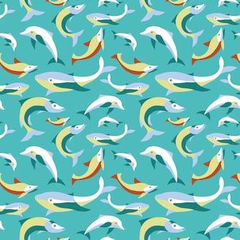 平らなレトロなスタイル - 設計のための抽象的な背景の魚とのシームレスなパターンベクトル