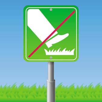ベクトル記号 - 草の上を踏まないでください。