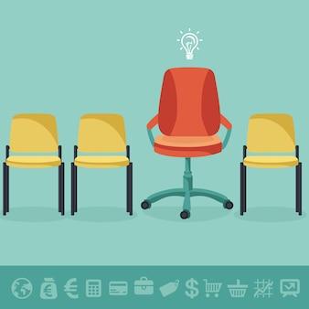 ベクトルオフィスコンセプト - 平らなレトロなスタイルとビジネス要素のオフィスの椅子