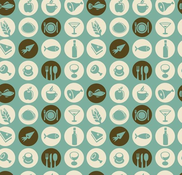 レストランと食べ物の要素とのシームレスなパターンベクトル