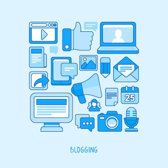 Концепция вектора - ведение блога и запись для веб-сайта