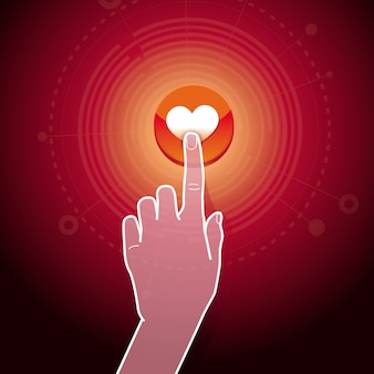 概念 - ハート記号の付いたボタンに触れる手のようなベクトル