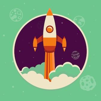 フラットスタイルのロケットイラストスタートアップのコンセプト