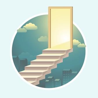 光が付いているドアへのベクトル階段