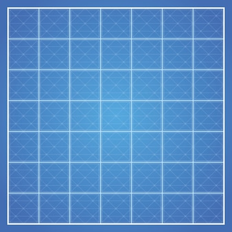 白い枠線でチェックされた青写真の背景