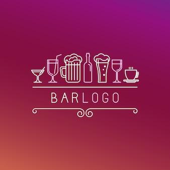 Векторный бар логотип в линейном стиле