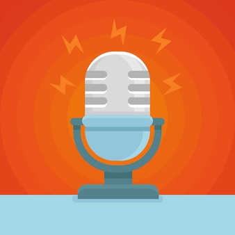 Вектор микрофон плоский стиль