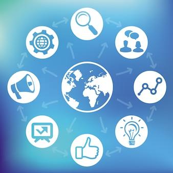 インターネットマーケティングの概念 - 世界とソーシャルメディアをベクトルします。