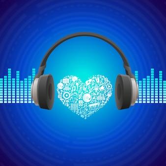 ベクトル音楽のコンセプト - ヘッドフォンと抽象的な背景