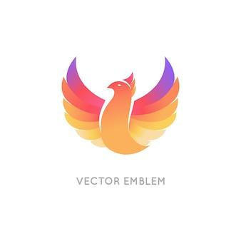Шаблон оформления логотипа красочная птица