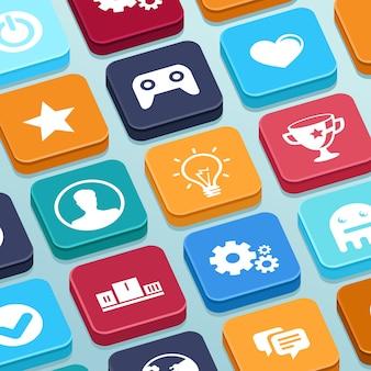 Игра векторное мобильное приложение - кнопки в плоском стиле