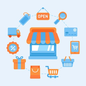 ショッピングシンボル、インターネットショッピングのデザイン要素、オンラインでの支払いと購入のフラットベクトルアイコンを設定