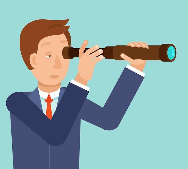 Вектор бизнесмен ищет будущие тенденции