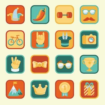 Векторный набор с иконками достижений и наград