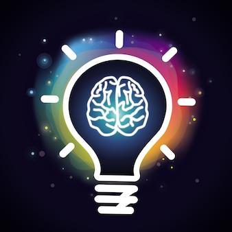 Концепция творчества вектор - мозг и лампочка