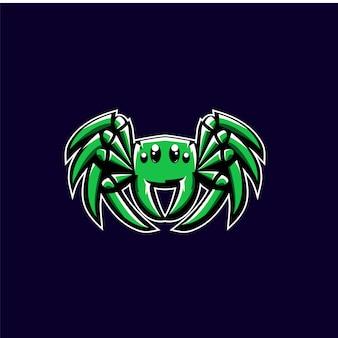 Зеленый паук спорт логотип иллюстрации