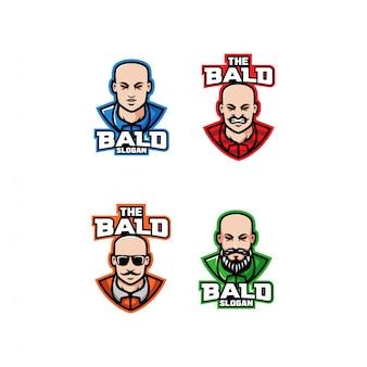 Коллекция лысой головы персонажа логотип значок дизайн мультфильма