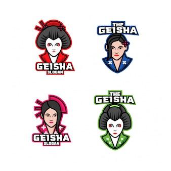 Коллекция японских гейш характер логотипа значок дизайн мультфильма