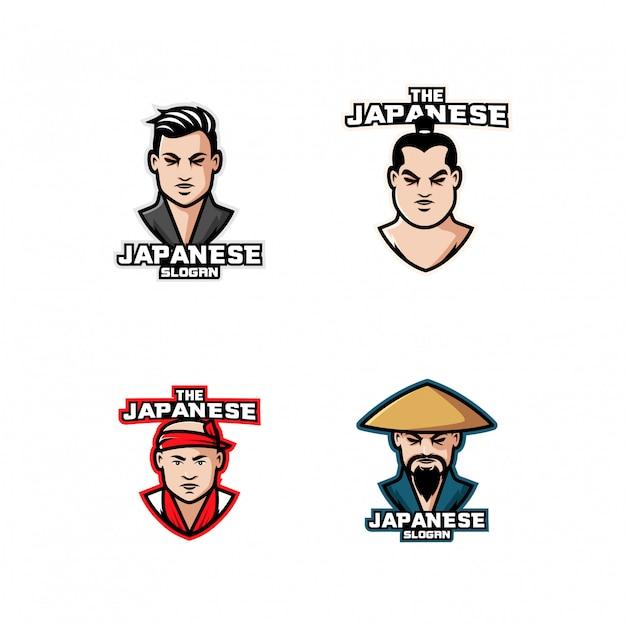 Коллекция японских сумо персонаж логотип значок дизайн мультфильма