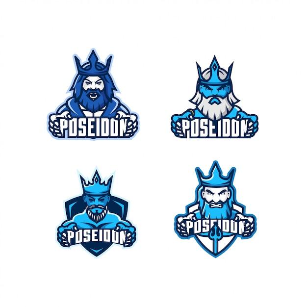 Набор логотипа головы посейдона