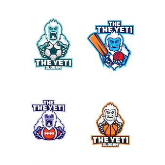 Набор логотипа спортивного клуба йети