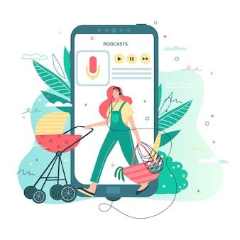 ベビーカーで歩いて、ポッドキャスト、オンラインラジオストリーミング、音楽、オーディオブックを聴くヘッドフォンをつけている女性。ランディングページを読んだり、楽しんだりするためのモバイルアプリケーションのコンセプト