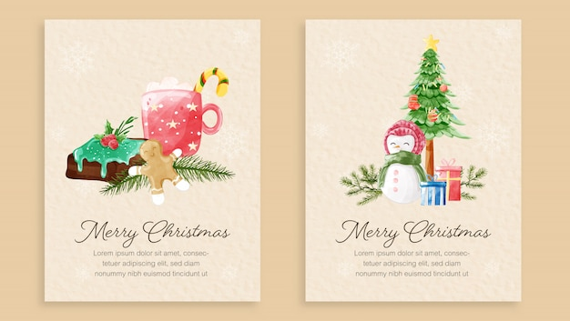 メリークリスマスカードテンプレートのセット