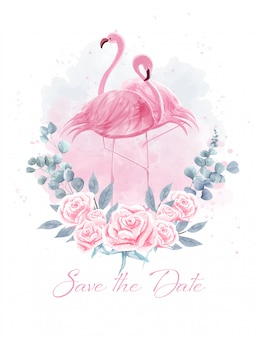 バラの中でカップルフラミンゴの水彩画。