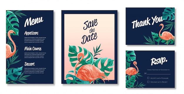 Красивый набор акварельных шаблонов карточек свадьбы. тема фламинго и диких листьев.