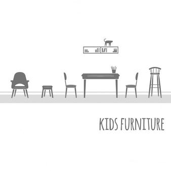 Мебель вектор плоский набор иконок