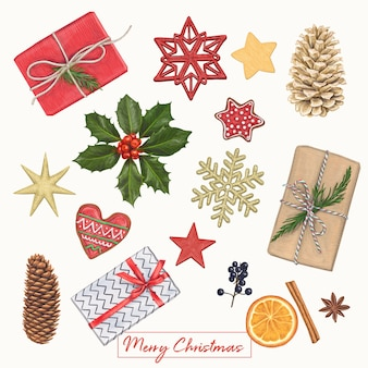 クリスマスのかわいい手の描画