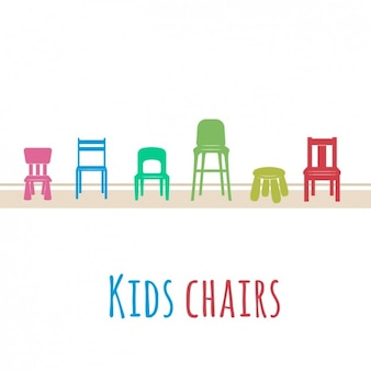着色された子供たちの椅子