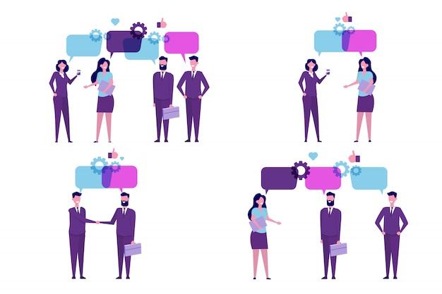 ビジネスマンは、ソーシャルネットワーク、ニュース、チャット、会話の吹き出しについて話し合います。