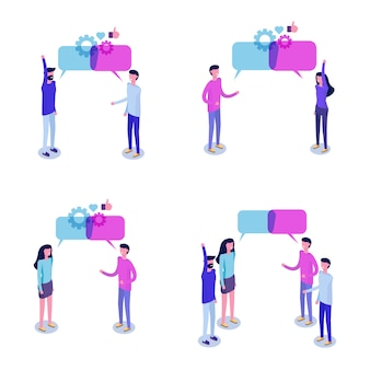 ビジネスマンは、ソーシャルネットワークの等尺性概念、ニュース、チャット、会話の吹き出しについて話し合います。