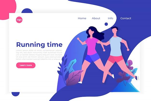 Фитнес, здоровый образ жизни шаблон целевой страницы. потеря веса концепции. для сайта и мобильного сайта