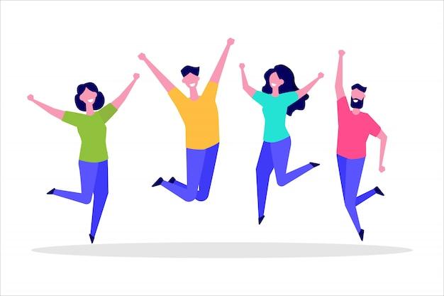 人々の幸せなジャンプグループ。健康的なライフスタイル、友情、成功、勝利のコンセプトを祝います。図