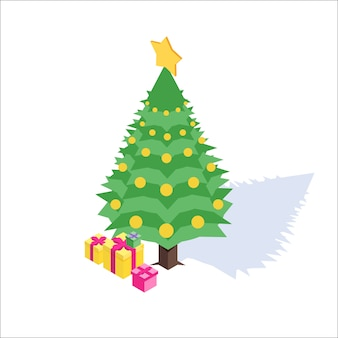 クリスマス、新年の等尺性のアイコン。図