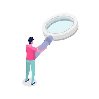 Человек с увеличительным стеклом. изометрическая иллюстрация.