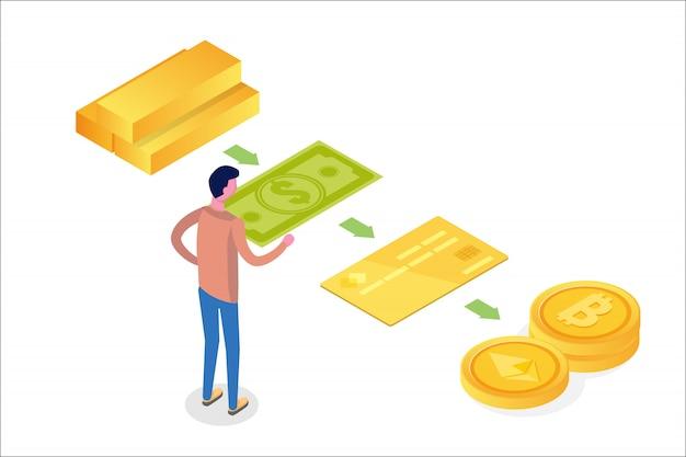 Деньги эволюция изометрической концепции. от бартера до криптовалюты. иллюстрация