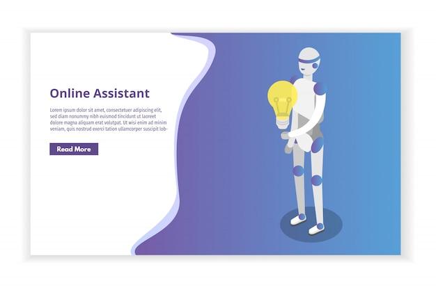 オンライン仮想アシスタント、チャットボット等尺性概念。図。