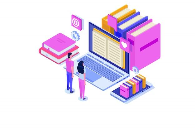 Онлайн цифровая библиотека изометрии, интернет-магазин книг, электронное обучение, электронная книга. иллюстрации.