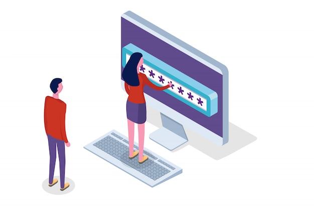 Доступ к данным, пароль изометрической концепции. форма входа на экране. иллюстрации.