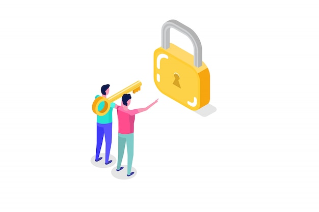 セキュリティ、安全性、機密個人データ保護等尺性概念。