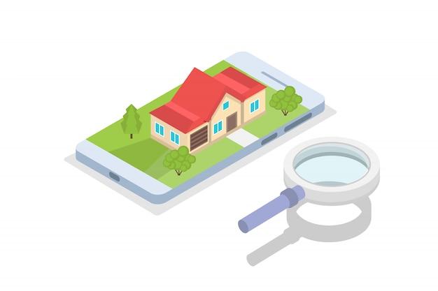 Недвижимость дом на карте поиск изометрической концепции. иллюстрация